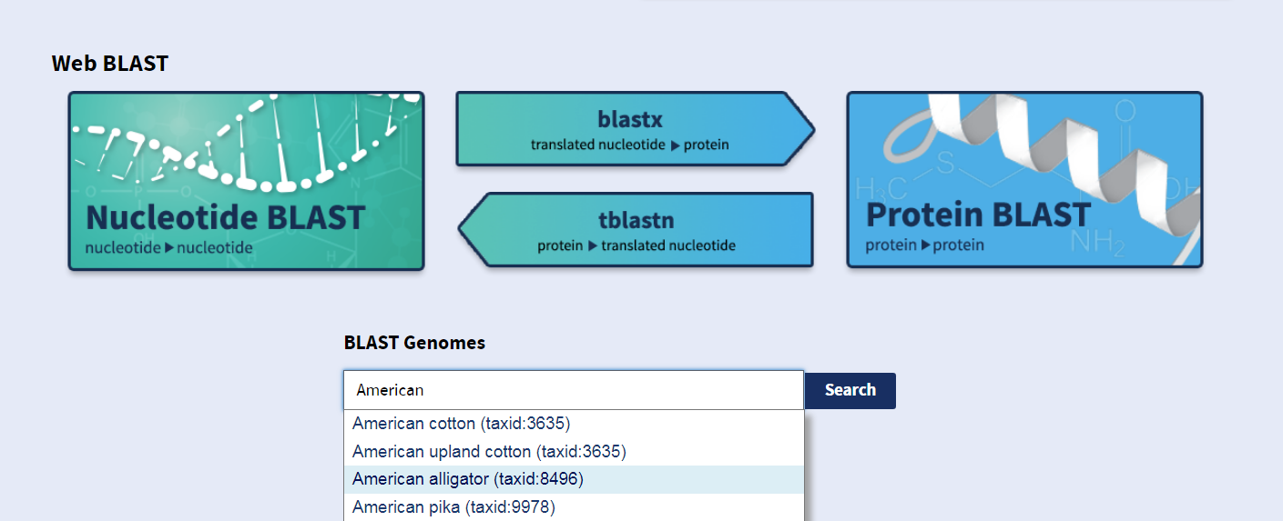 "Figure 1: A part of the BLAST ® home page that includes the ""BLAST Genomes"" search box"