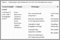Table 1.. Advantages and drawbacks of in vitro 2D cell migration assays.