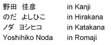 Fig. 1. Script variations of Japanese personal name.