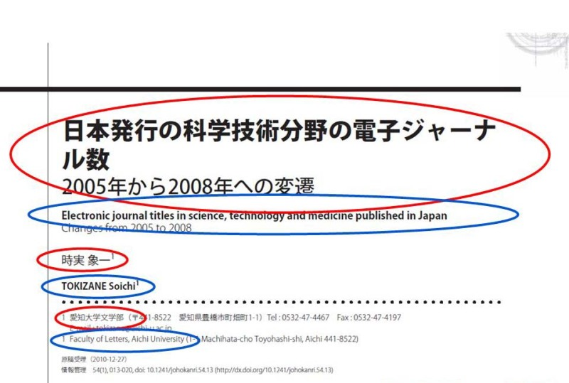Fig. 8. Metadata example of a Japanese-language article. Japanese metadata are circled in red, and English ones in blue.