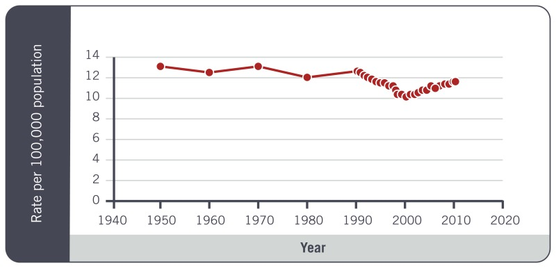 The Prevalance of suicide Behaviors by year - Graph