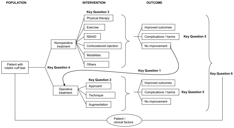 Figure 1 is a flow diagram illustrating possible clinical paths for patients with rotator cuff tears, showing decision nodes for operatiave or nonoperative treatments to mutiple options within those two choices, and the potential resulting outcomes. It also locates the key questions of the review within the context of the framework.