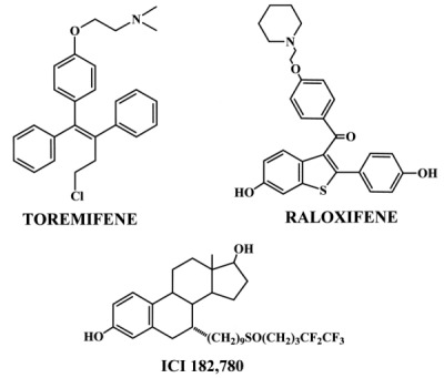 Figure 55.5. Antiestrogens being evaluated as potential breast cancer therapeutic agents or SERMs (raloxifene).