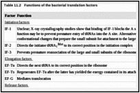 Table 11.2. Functions of the bacterial translation factors.