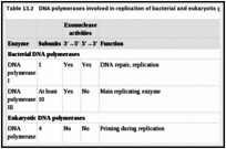 Table 13.2. DNA polymerases involved in replication of bacterial and eukaryotic genomes.