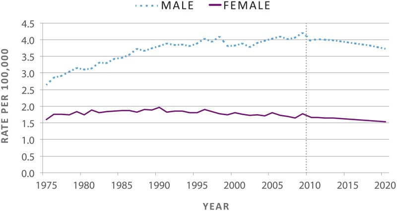 Figure 4 Age Adjusted Melanoma Death Rates Actual And Projected By Sex 1975 2020 The Surgeon General S Call To Action To Prevent Skin Cancer Ncbi Bookshelf