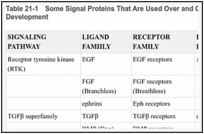 Table 21-1. Some Signal Proteins That Are Used Over and Over Again as Inducers in Animal Development.