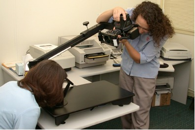 Figure 11. Hair photography using the stereotactic device.