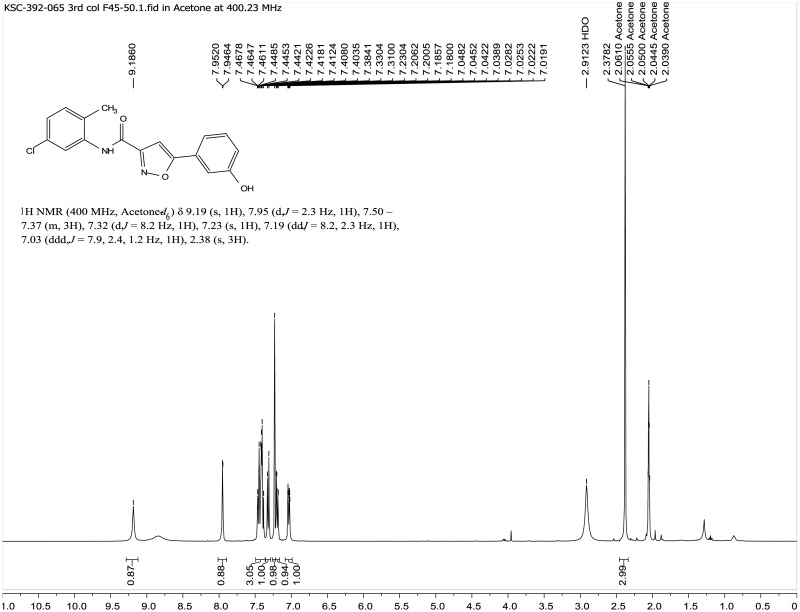 1H NMR Spectrum (400 MHz, Acetone-d6) of the Probe CID72199308, KSC-392-065.