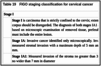 Table 19. FIGO staging classification for cervical cancer.