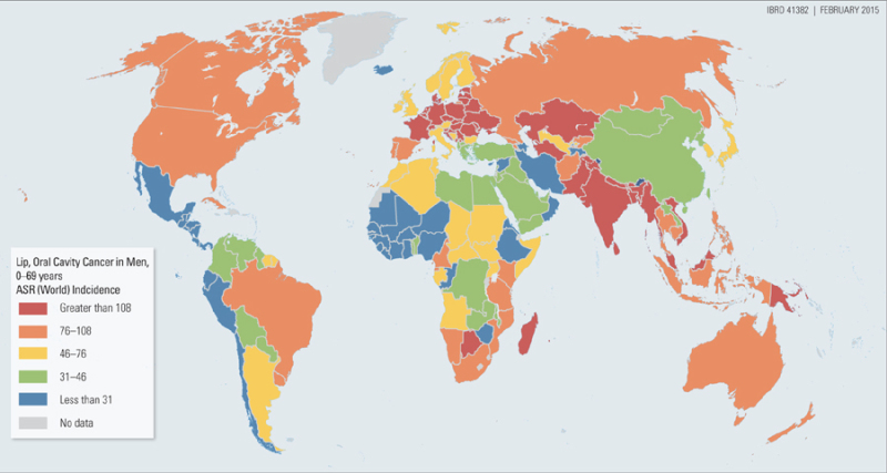 Map AgeStandardized Incidence Rates Of Oral Cancer In Men - Oral map