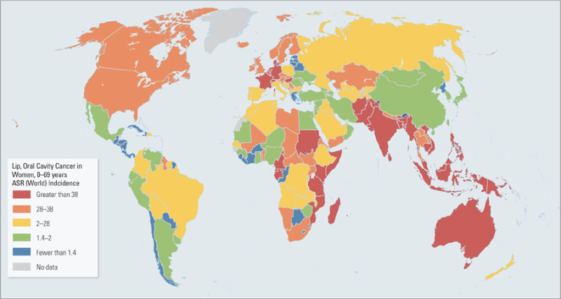 Map AgeStandardized Incidence Rates Of Oral Cancer In Women - Oral map