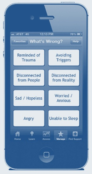 Part 1 chapter 2 using technology based therapeutic tools in picture screenshot of a smartphone with the whats wrong page of the ptsd fandeluxe Images