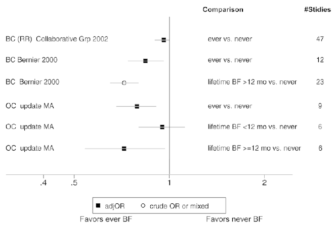Figure 3. The relationship between breastfeeding and maternal outcomes - meta-analysis results.