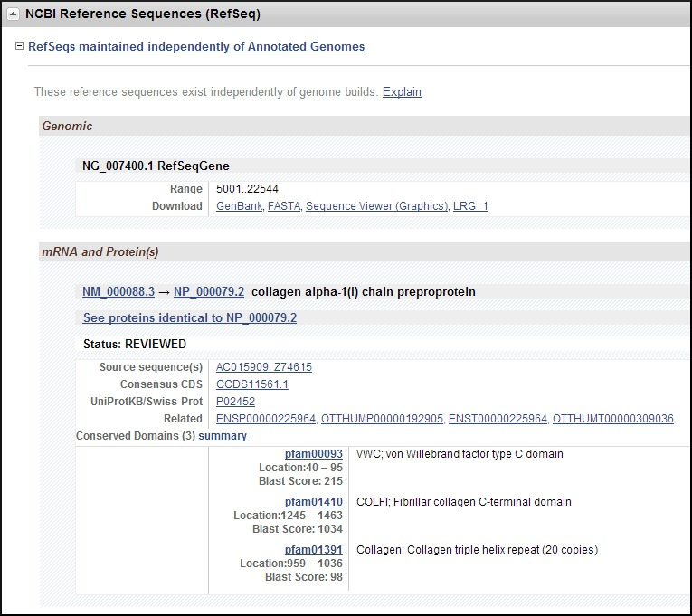 Figure 9. . Representative NCBI Reference Sequences (RefSeq) section in the Full Report display.