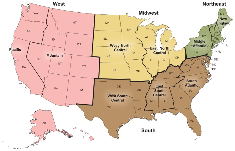 Figure I, U.S. Census Bureau: Four geographic regions and nine ...