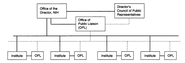 FIGURE 1. Proposed placement of the Offices of Public Liaison and the Director's Council of Public Representatives within the current organization at NIH.