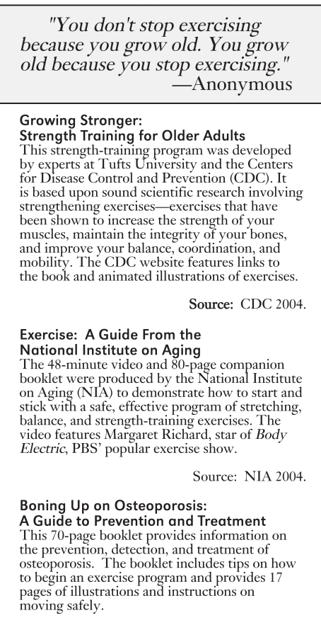 Figure 7-4. Resources for Strength Training for Older Adults.