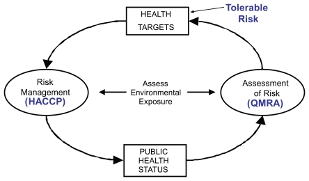 FIGURE 3-8. The World Health Organization's (WHO's) risk assessment approach guidelines for drinking water, recreational use, and water reuse.
