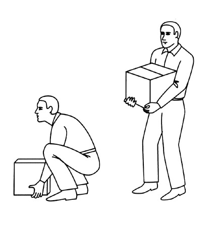 Figure 2. Safe lifting and carrying positions.