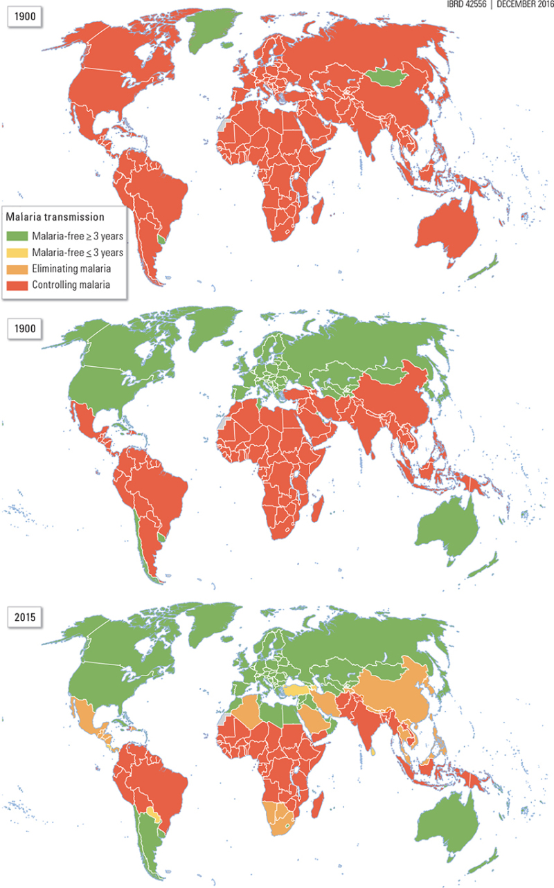 Map 12 1, Malaria Transmission Worldwide, 1900, 1990, and