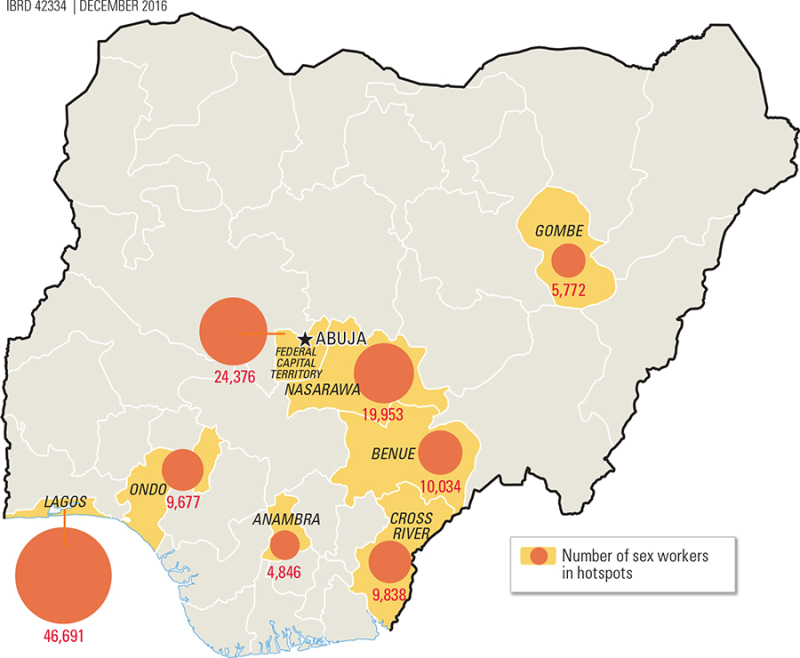 Map 8.4Number of Sex Workers in Nigerian Hotspots
