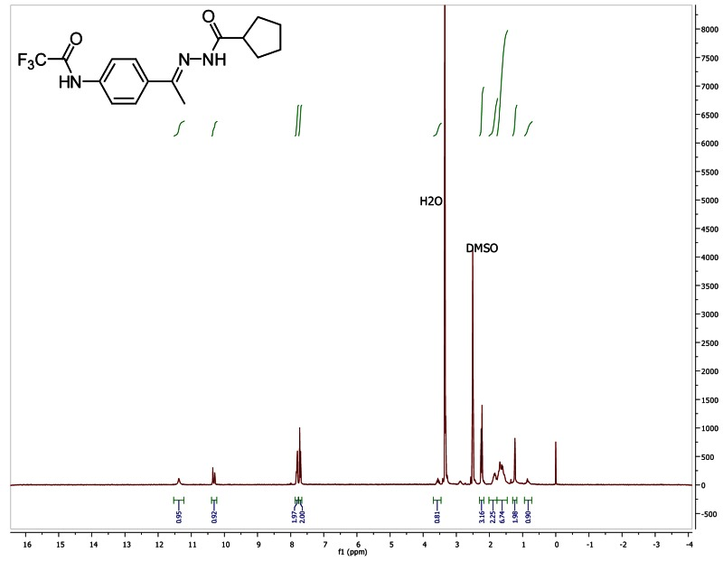 1H NMR spectra (300 MHz, d6-DMSO) of probe CID 26871482.