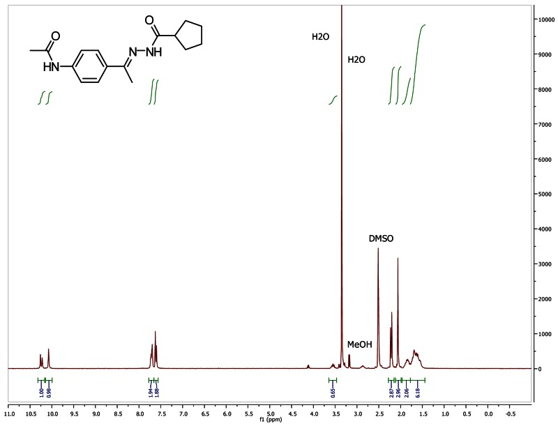 1H NMR spectra (300 MHz, d6-DMSO) of analog CID 44629411.