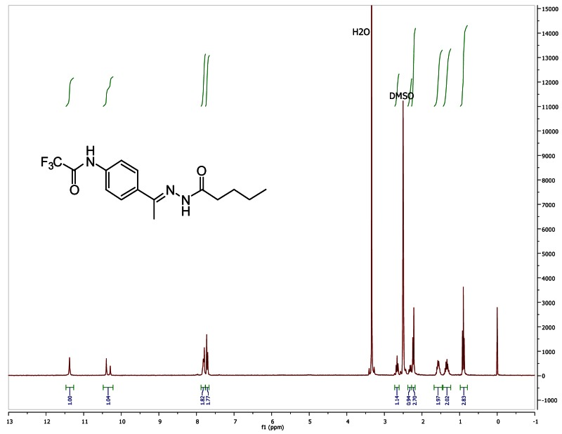 1H NMR spectra (300 MHz, d6-DMSO) of analog CID 6048135.