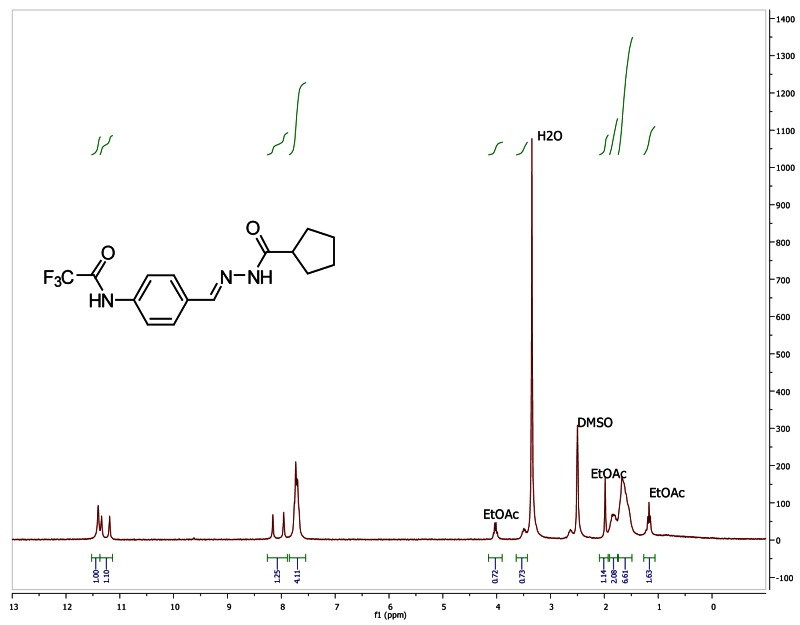 1H NMR spectra (300 MHz, d6-DMSO) of analog CID 49766529.