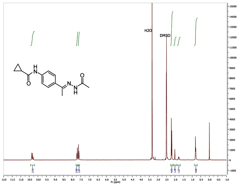 1H NMR (300 MHz, d6-DMSO) of analog CID 40532013.