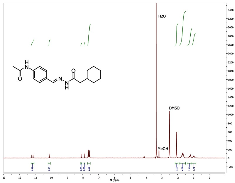 1H NMR spectra (300 MHz, d6-DMSO) of analog CID 9555025.