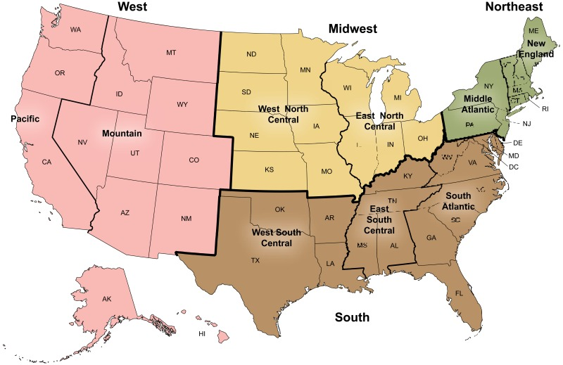 Us Census On The Map Figure, U.S. Census Bureau: Four geographic regions and nine