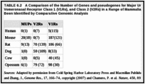 TABLE 6.2. A Comparison of the Number of Genes and pseudogenes for Major Urinary Proteins (MUPs), Vomeronasal Receptor Class 1 (V1Rs), and Class 2 (V2Rs) in a Range of Mammalian Species That Have Been Identified by Comparative Genomic Analysis.