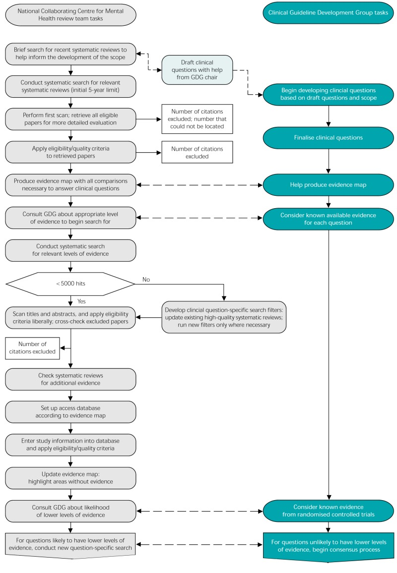 Fig. 4.1. Guideline review process (GDG, Guideline Development Group).