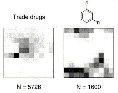 Figure 19. SOM showing the distribution of 5726 trade drugs (left) and a 40 × 40 = 1600-member combinatorial library (right) in CATS topological pharmacophore space.