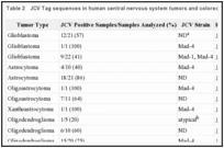 Table 2. JCV Tag sequences in human central nervous system tumors and colorectal carcinoma.