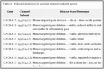 Table 3. Induced mutations in calcium channel subunit genes.