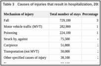 Table 3. Causes of injuries that result in hospitalization, 2004.