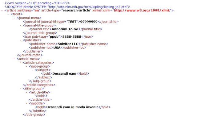 Fig. 31. Published article - sample XML.