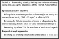 Table 5.V. Preventing obesity, limiting the sedentary lifestyle and promoting fruit and vegetable eating are among the objectives of the French National Nutrition Health Program (PNNS).