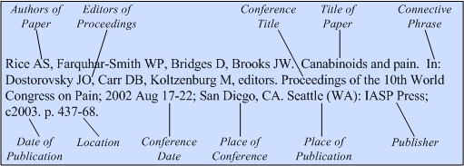 Illustration of the general format for a reference to a conference paper with only a conference title.