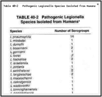 Table 40-2. Pathogenic Legionella Species Isolated from Humans a.
