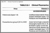 Table 53-1. Clinical Picornavirus Syndromes.