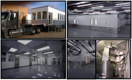 Five photos showing examples of mobile bioprocessing facilities (MBFs).