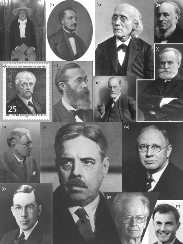 FIGURE 2.1. A rogues gallery of historical personages, appearing in rough chronological order of their date (or estimated date) of birth, from (a) to (z), who shaped modern scientific conceptions of sensation and reward.
