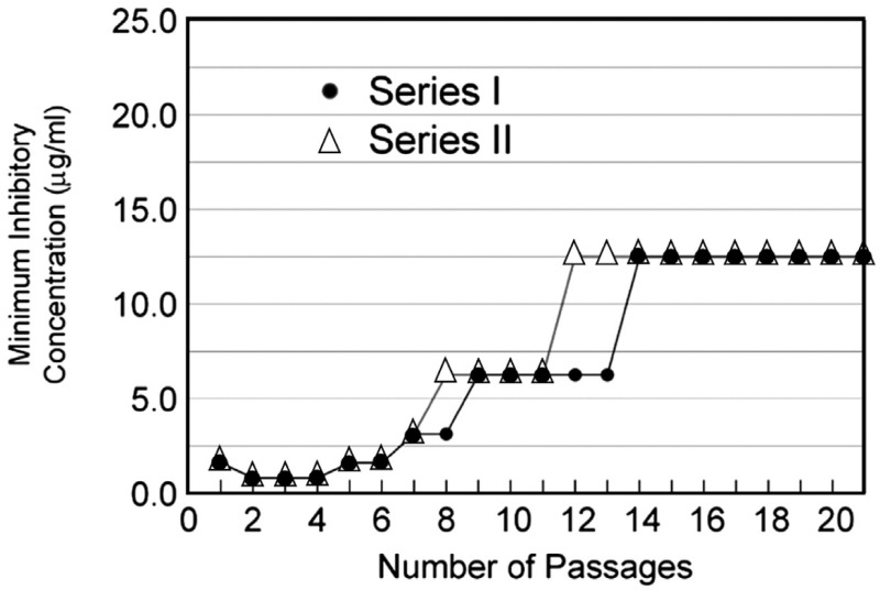 FIGURE 2-12. Change in minimum inhibitory concentration of alatrofloxacin against Bacillus anthracis Sterne in brain heart infusion during the course of 21 serial passages of the microorganism performed in duplicate.