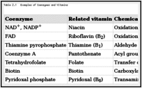 Table 2.1. Examples of Coenzymes and Vitamins.