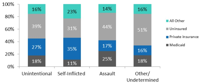 Figure 4. Emergency department visits in the U.S. for injury involving a firearm, 2009. Stacked bar chart; insurance coverage; Unintentional; 18%, Medicaid; 27%, private insurance; 39%, Uninsured; 16%, All other. Self-inflicted; 11%, Medicaid; 35%, private insurance; 31%, Uninsured; 23%, All other. Assault; 25%, Medicaid; 17%, private insurance; 44%, Uninsured; 14%, All other. Other/undetermined; 18%, Medicaid; 16%, private insurance; 51%, Uninsured; 16%, All other. Source: AHRQ, Center for Delivery, Organization, and Markets, Healthcare Cost and Utilization Project, Nationwide Emergency Department Sample, 2009.