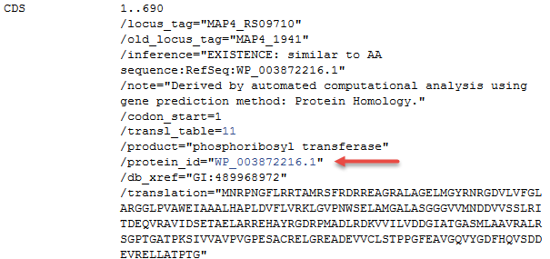 Image illustrating a CDS feature annotated on NC_021200.1 which cross-references non-redundant RefSeq protein accession WP_003872216.1